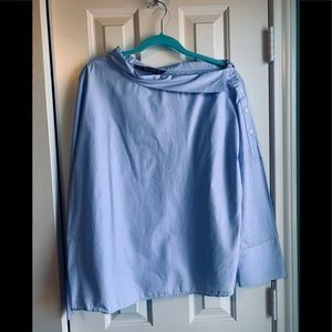Zara TRF Blue Long Sleeve Blouse: size L